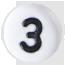 číslo 3 biele