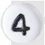číslo 4 biele