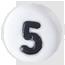 číslo 5 biele