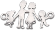 rodina s dievčaťom a chlapcom (nehrdzavejúca oceľ)